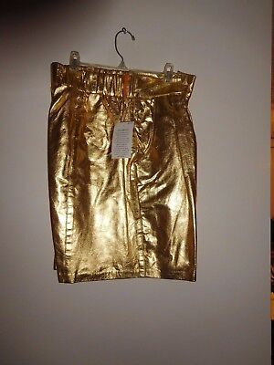 Size 16 Vtg 80s Genuine Leather Gold Metallic Foiled Shorts New Old Back Stock