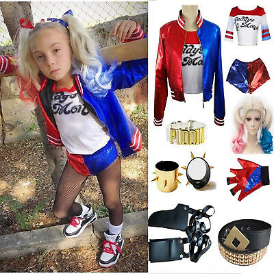 Kids Girls Suicide Squad Harley Quinn Tops Coat Shorts Wig Halloween Costume Lot