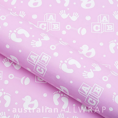 NEW Baby Pink w/ White ABC, gift wrap, wrapping paper 600mm x 50m