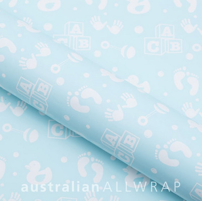 NEW Baby Blue w/ White ABC, gift wrap, wrapping paper 600mm x 50m