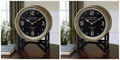 "Two New 16"" Metal Frame Brass Black Face Round Table Desk Clock Modern Vintage"