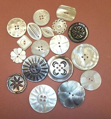 18 Vintage Shell Buttons Carved,  Shaped, Nice Large Metal Shell Combo