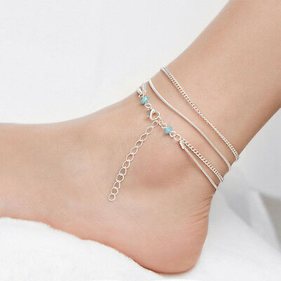 Women Multilayer Ankle Chain Bracelet Barefoot Sandal Beach Foot Jewelry Funny