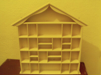 Vintage WHITE Wood Wall Hanging HOUSE Shelf Shadow Box Display GC 50CM X 50CM