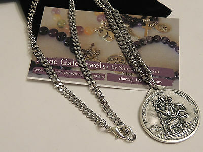 St Christopher Large Medallion Medal Necklace S/steel Chain-Safe Travel Saint