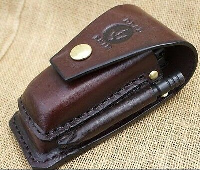 Brown leather sheath-For leatherman multitool SURGE 300 plus 2 bitkits 7 ext bar