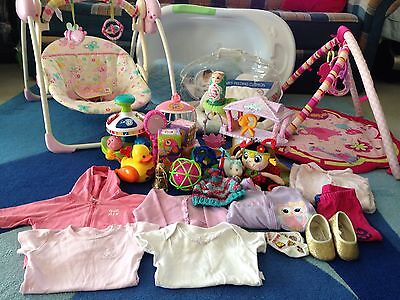 Baby Girls - Swing + Bathtub + Breastfeeding Pillow + Play Mat + Toys & Clothes