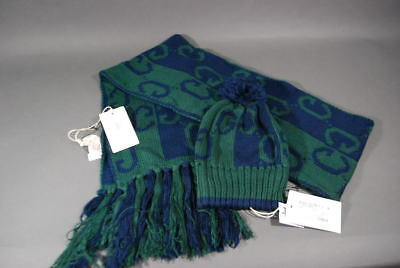 Kids Gucci Beanie Hat Scarf Kids Baby Winter GG Green Blue Cotton Knit NWT