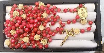 15 Decade Coral Glass Beads and Full Bloomed Roses