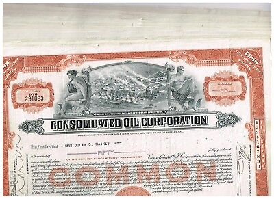 Wholesale-Lot 24 Consolidated Oil Corp., 1930-40s, light brown
