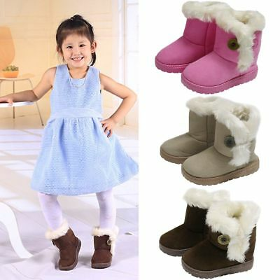 Childrens Girls Boys Kids Suede Winter Snow Boots Fur Warm Lined UK Size 7 8 9