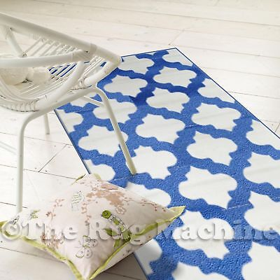 ASHER WHITE BLUE MOROCCAN TILE MODERN DESIGN FLOOR RUG RUNNER 70x235cm **NEW**