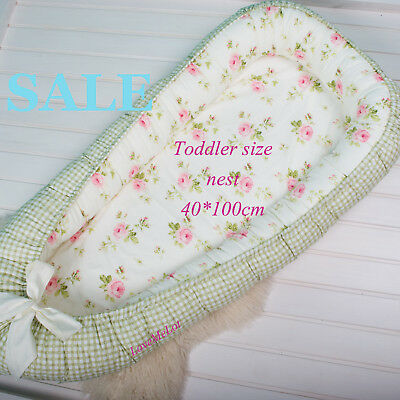 Sale! Toddler size babynest with Removable cover, co sleeper, crib, cot, roses