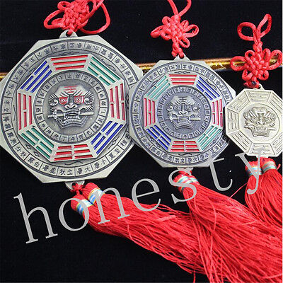 Feng-Shui-Chinese-Metal-Bagua-Mirror-Hanger- Tiger Design with Red Tassels