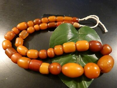 ANTIQUE BUTTERSCOTCH AFRICAN AMBER RESIN BEADS 19 INCH STRAND c/o the pumtekman