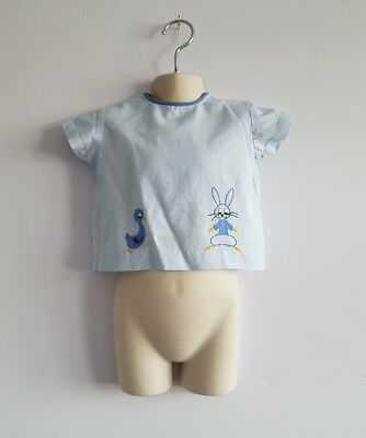 Vintage Marks and Spencer  Baby's Blue Bunny & Duck Design Top Age 1-2