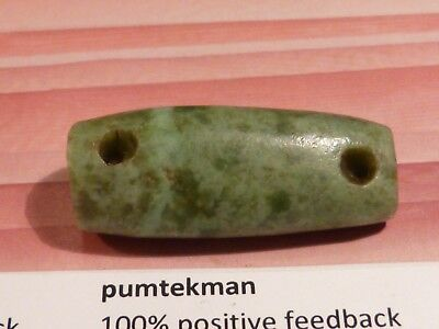ANCIENT PRE-COLUMBIAN MESOAMERICAN GREEN JADE BEAUTIFUL 4 hole BEAD 31 BY 13 mm