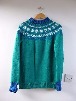 Unbranded vintage  acrylic chunky HAND KNITTED NORDIC jumper size S