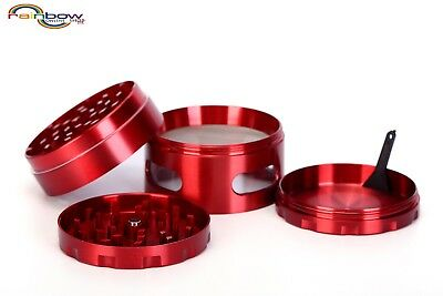 """Large Spice Tobacco Herb Weed Grinder-4 Pcs with Pollen Catcher-2.5"""" color Red"""