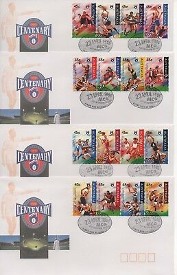 1996 - Centenary of AFL - 4x First Day Covers in excellent condition