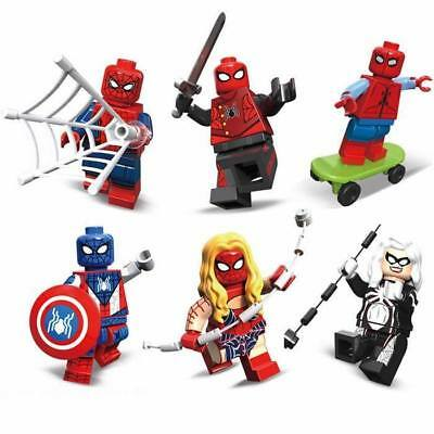 6 X MiniFigures Spider Series Spider Man Girl Woman Spider Biker Blocks Toy Z279
