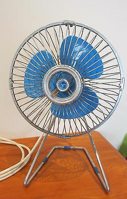 VINTAGE RETRO ATOMIC AIRMASTER 43cm tall DESK FAN BLUE & METAL