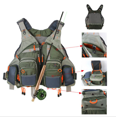 "Fly Fishing Mesh Vest Adjustable Mutil-Pocket Outdoor Vest ""NON SECOND"""
