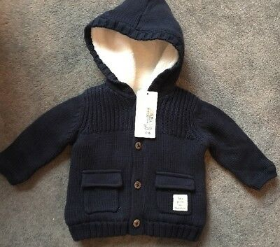 Brand New With Tags*£16*M&S Baby Boy Coat, Blue, Fleece Lining, 3-6 Months