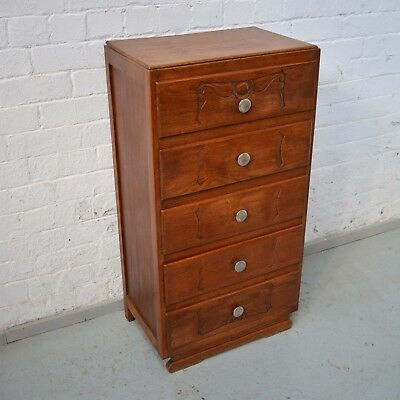 Antique Art Deco Walnut Chest / Bank of Drawers