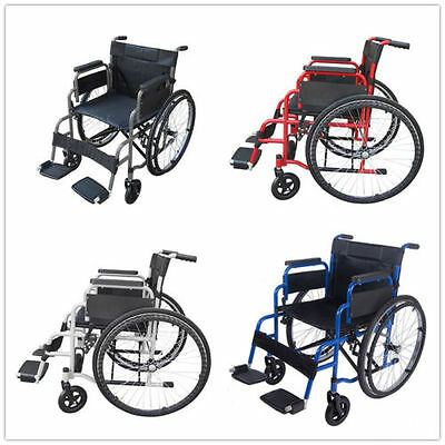AID Folding Wheelchair Self Propelled Lightweight Transit Footrest Armrest Brake