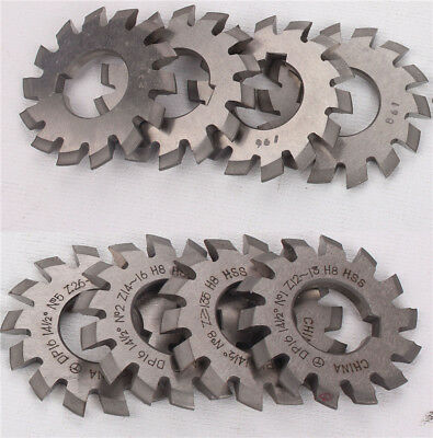 8PCS Gear Milling Cutter HSS 8H Set 8 Pcs DP16 PA14-1/2 Bore22 No1-8 Involute US