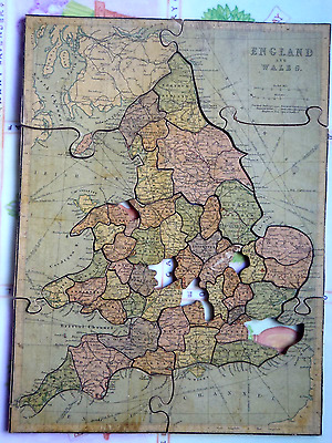 """Antique wooden jigsaw -early 20th C.-""""England & Wales """""""