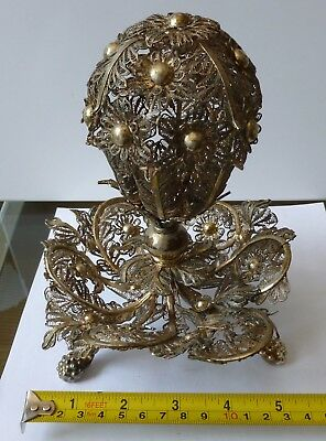 Vintage Sterling Silver Filigree Continental Container Significant Wear & Damage