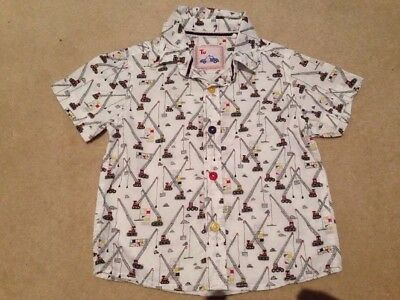 TU Baby Boy Shirt 12-18 Months White with Cranes