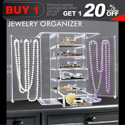 Clear Acrylic Jewellery Box Necklaces Rings Storage Case Organizer 6 Layers