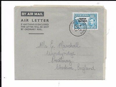 TRISTAN DA CUNHA 1952 AIRLETTER TO UK FRANKED 6d DEFIN OF ST HELENA O/P .