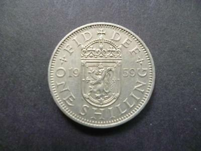 1959 Scottish Shilling Coin, Good Condition, Low Mintage Coin Shown Sent.