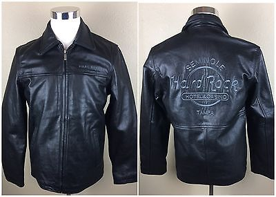 Hard Rock Cafe Seminole Tampa Casino Leather Black Motorcycle Jacket Small S