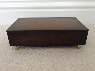 Wooden Jewellery Box, Vintage, Hinged, Trinket Box, Gold Colour Feet