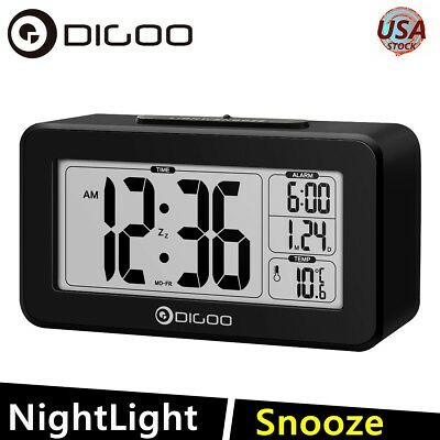 Digoo Desk Alarm Clock Snooze Backlight LCD Digital Sensitive Thermometer US
