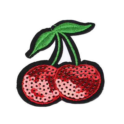 cherry Embroidery Iron sew on patch applique DIY clothing Sequins 6.8*7.7cm M&C
