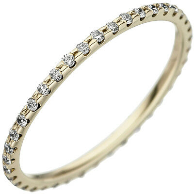 Memory Ring with Diamonds Brilliants Round 1,2mm Slim 585 Gold Yellow Gold
