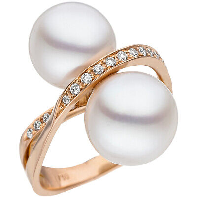 Ring with 24 Diamonds Brilliants South Pearls White 750 Gold Rose