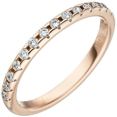 Women's Ring with 15 Diamonds Brilliants 2,4mm Slim 585 Gold Rose Gold,