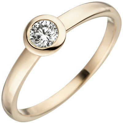 Ring with Diamond Solitaire Round Socket 585 Gold Yellow Gold Diamond Ring
