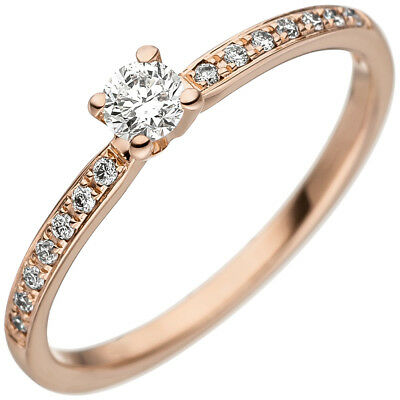 Ring with 15 Diamonds Brilliants Slim solitaire 585 Gold Rose