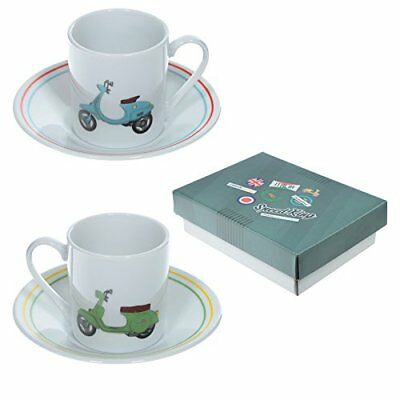 Puckator Scooter Espresso Cup and Saucer Set of 2 Moped Gift Coffee Cups Set
