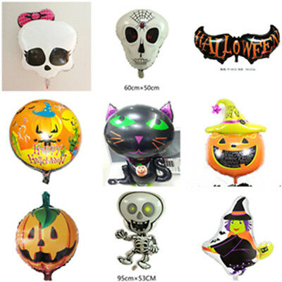 Halloween Balloons Foil Decoration Creepy Witch Skeleton Pumpkin Black Cat Ghost