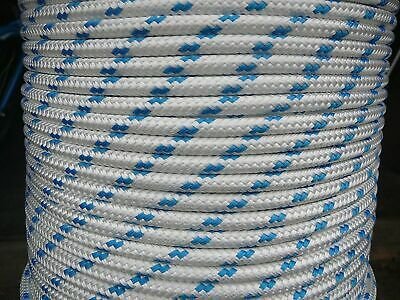 14mm x 100m Polyester Rope Double Braided White Black Blue Yacht Sailing Mooring