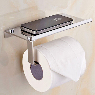 Wall Mounted Bathroom Toilet Tissue Paper Roll Holder Stand with Shelf Solid